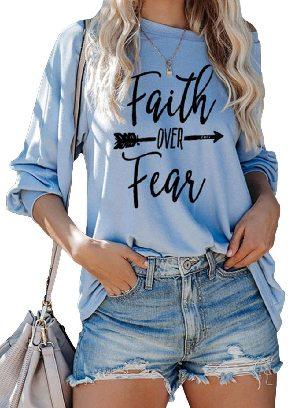 Light Blue Summer Loose Faith OVER Fear Letter Printing Shirt