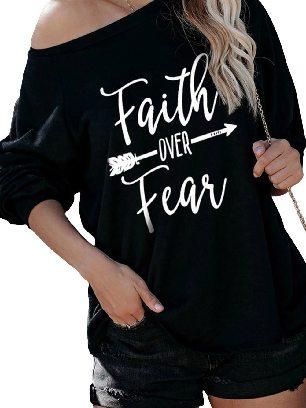 Black Summer Loose Faith OVER Fear Letter Printing Shirt