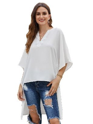 White Bat Sleeve Short Front and Long Back Chic High Low Kimono Top