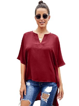 Red Bat Sleeve Short Front and Long Back Chic High Low Kimono Top