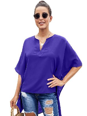 Blue Bat Sleeve Short Front and Long Back Chic High Low Kimono Top