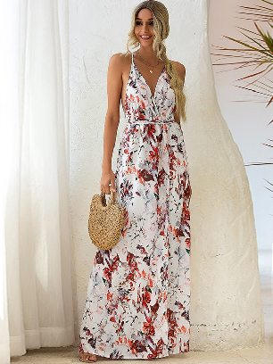 White Printed Sling Slip Back Lace Irregular Long Maxi Dress