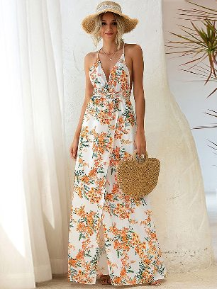 Yellow Printed Sling Slip Back Lace Irregular Long Maxi Dress