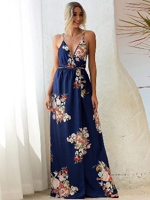 Navy blue Printed Sling Slip Back Lace Irregular Long Maxi Dress