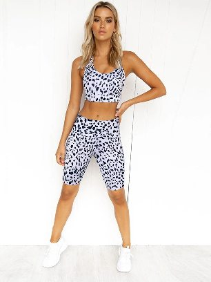 Yoga Suit Leopard Print Cross Back High Stretch Yoga Suit
