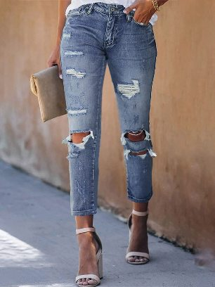 Frayed Holes Crop Ancle-length Jeans