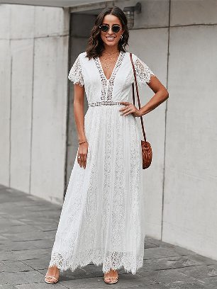 Hollow Solid Color Lace Edge Fill Your Heart Lace Maxi Dress