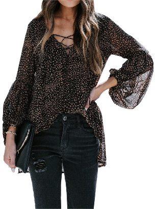 Black Women Leopard Print Lantern Sleeve Casual Lace Up V-neck Blouse