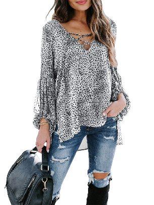 White Women Leopard Print Lantern Sleeve Casual Lace Up V-neck Blouse