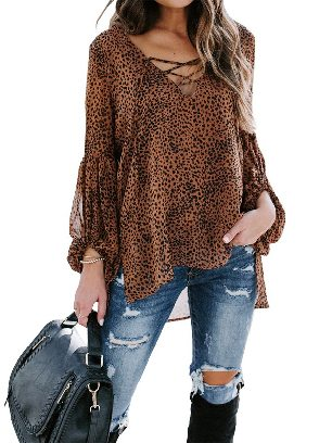 Brown Women Leopard Print Lantern Sleeve Casual Lace Up V-neck Blouse