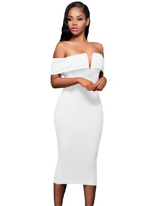 White Women Autumn Off-the-shoulder Midi Dress