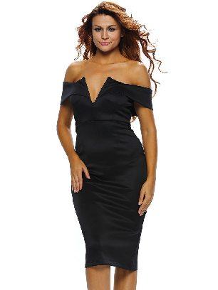 Black Women Autumn Off-the-shoulder Midi Dress