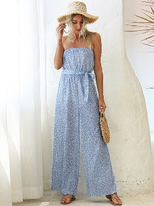 Supply Wrapped Chest Printed Bandage Loose One-piece Wide-leg Pants