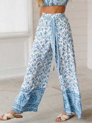 Loose Printed Wide Leg Pants with Belt
