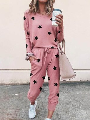 New Style Star Print Round Neck Long-sleeved Two-Piece Set Sports Wear