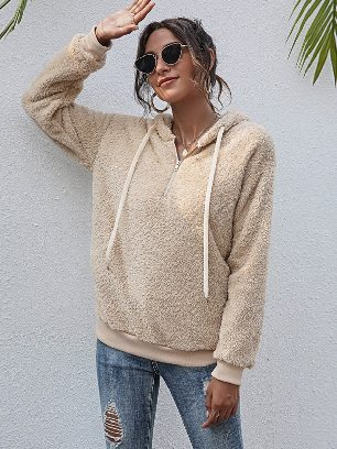 Supply 2020 Fall winter Pullover Solid Color Hooded Top Women Plush Hoodie