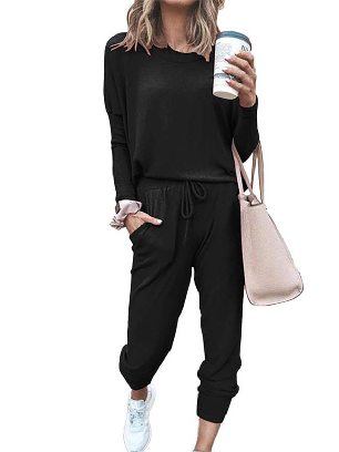 Black New Style Star Print Round Neck Long-sleeved Two-Piece Set Sports Wear