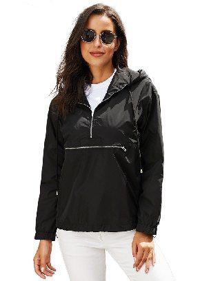 Black Casual Hooded Windbreak Jacket