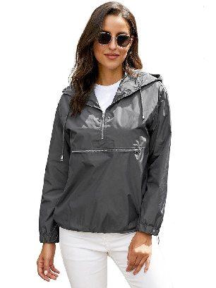 Gray Casual Hooded Windbreak Jacket