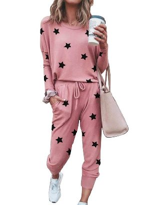 Pink New Style Star Print Round Neck Long-sleeved Two-Piece Set Sports Wear
