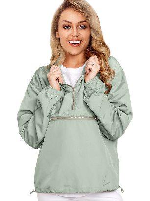 Light green Casual Hooded Windbreak Jacket
