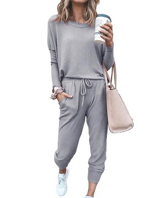 Gray New Style Star Print Round Neck Long-sleeved Two-Piece Set Sports Wear