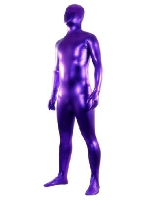 Ideal Purple Zentai Costume Shiny Metallic Unisex Zentai Suit Holiday Costume