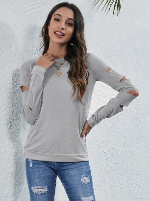Supply Round Neck Solid Color Fashion Ripped Straight Top