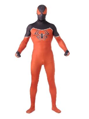 Orange and Black Spiderman Super Hero Halloween Full Body Morph Costume Spandex Holiday Unisex Lycra Morph Zentai Suit