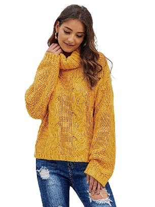 Supply Yellow Cuddle Cable Knit Handmade Turtleneck Sweater