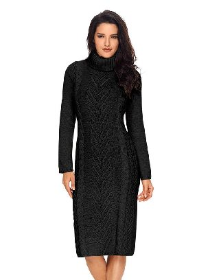 Black Long Sleeve Hand Knitted High Neck Slim Sweater Dress
