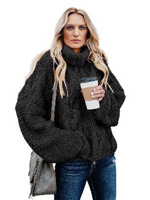 Black Cuddle Cable Knit Handmade Turtleneck Sweater