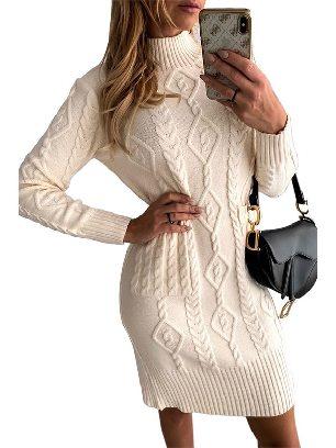 Beige Sweater Dress High NeckTextured Bodycon Warm Solid Color Sweater Dress