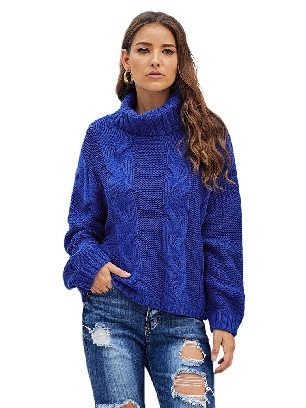 Blue Cuddle Cable Knit Handmade Turtleneck Sweater