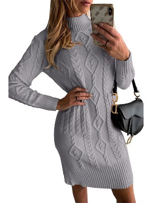 Gray Sweater Dress High NeckTextured Bodycon Warm Solid Color Sweater Dress