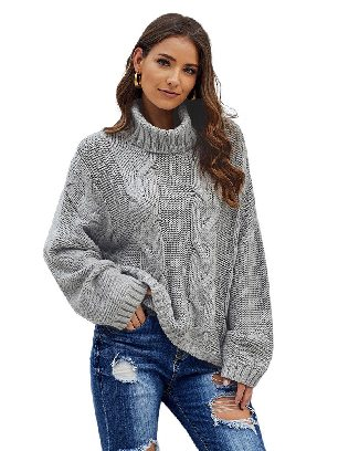 Supply Gray Cuddle Cable Knit Handmade Turtleneck Sweater