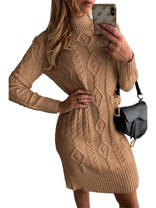 Brown Sweater Dress High NeckTextured Bodycon Warm Solid Color Sweater Dress
