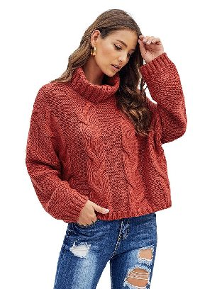 Supply Red Cuddle Cable Knit Handmade Turtleneck Sweater