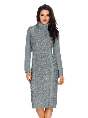 Gray Long Sleeve Hand Knitted High Neck Slim Sweater Dress
