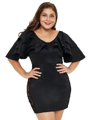 Supply Round Neck Pleated Ruffled Shoulder High Waist Lace Plus Size Dress