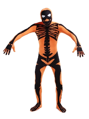 Orange Skull Full Body Morph Costume Halloween Spandex Holiday Unisex Cosplay Zentai Suit