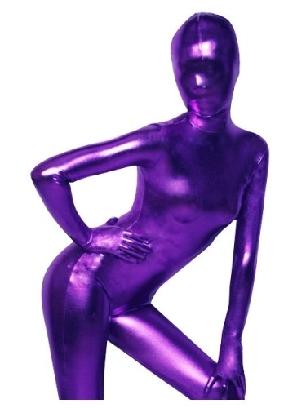 Purple Zentai Costume Shiny Metallic Zentai Suit