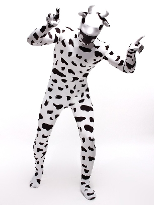 Black and White Dots Cow Cartoon Full Body Morph Costume Halloween Spandex Holiday Unisex Cosplay Zentai Suit