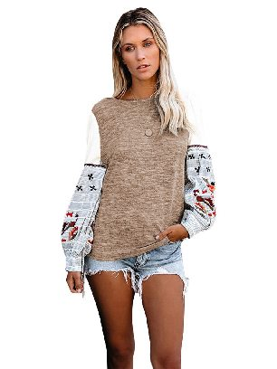 Khaki Long-sleeved Contrast Printed Knit Embroidery Cuffs Sweatshirts