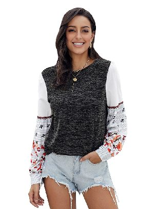 Black Long-sleeved Contrast Printed Knit Embroidery Cuffs Sweatshirts