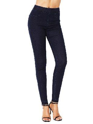 Dark blue Women Elastic High Waist Jeans Stretch Pants