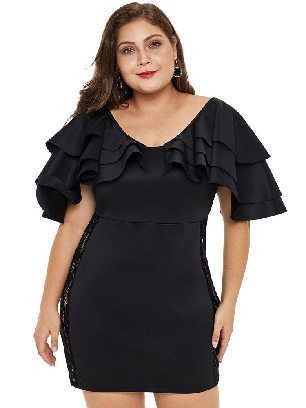 Supply Black Round Neck Pleated Ruffled Shoulder High Waist Lace Plus Size Dress