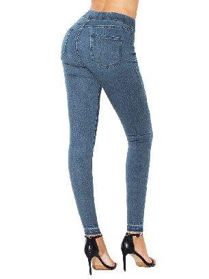 Light Blue Women Elastic High Waist Jeans Stretch Pants
