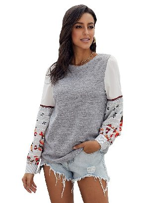 Gray Long-sleeved Contrast Printed Knit Embroidery Cuffs Sweatshirts