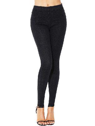 Black Women Elastic High Waist Jeans Stretch Pants